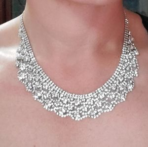 Vintage Rhinestone Bib Necklace